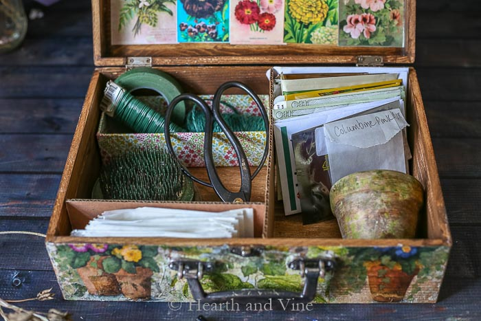 Interior items in vintage flower seed box
