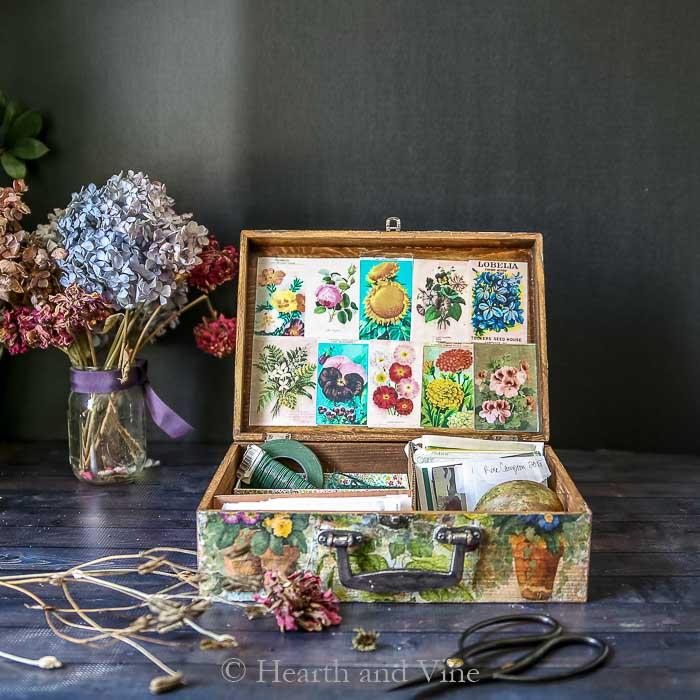 Handmade vintage flower seed box
