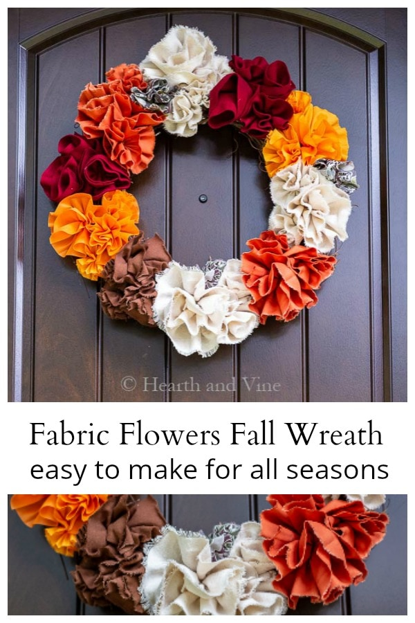 Fabric flower fall wreath collage