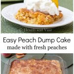 Slice of peach dump cake and entire cake on bottom