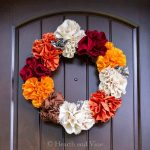 Fabric flower fall wreath