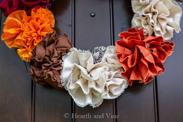 Fabric flower fall wreath closeup