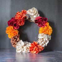 Draft of fabric flower wreath
