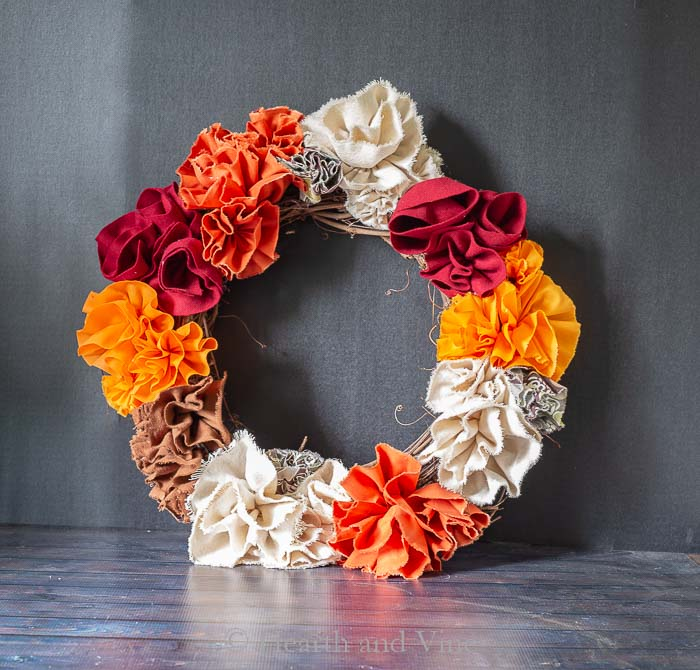 Draft of fabric flower wreath
