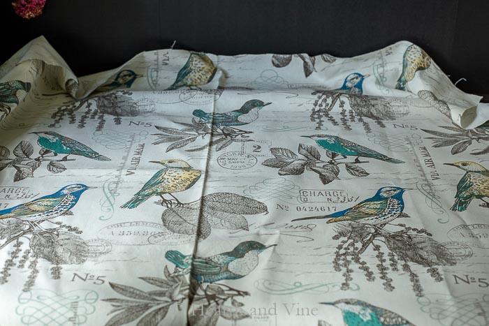 Botanical bird print fabric