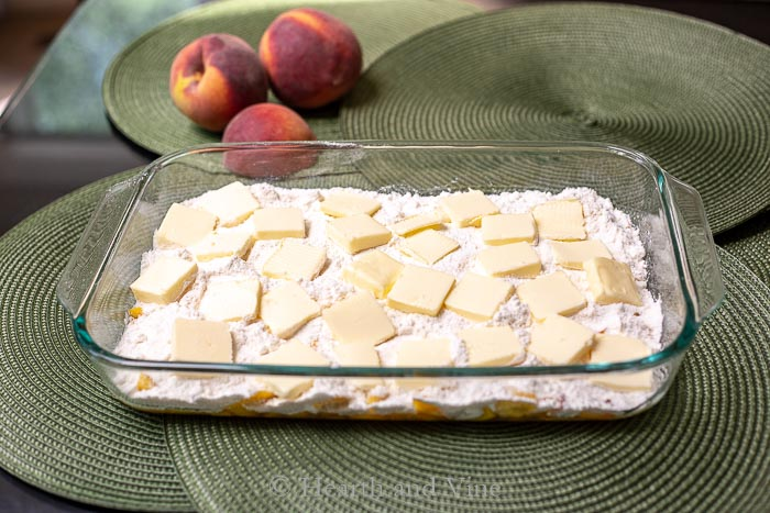 Cake mix and butter slices