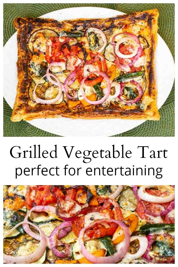 Grilled vegetable tart collage