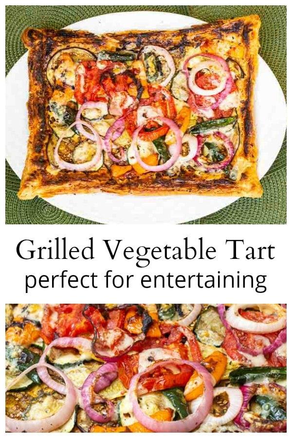 Grilled vegetable tart collage