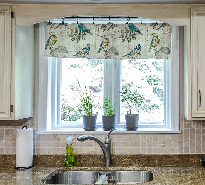 New kitchen window valance above sink.
