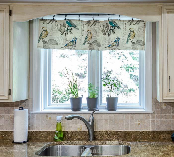 New kitchen window valance above sink.