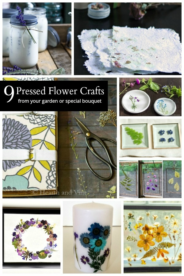 Collage of pressed flower projects