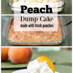 Three stack images dump cake before baking, dump cake baked and individual slice