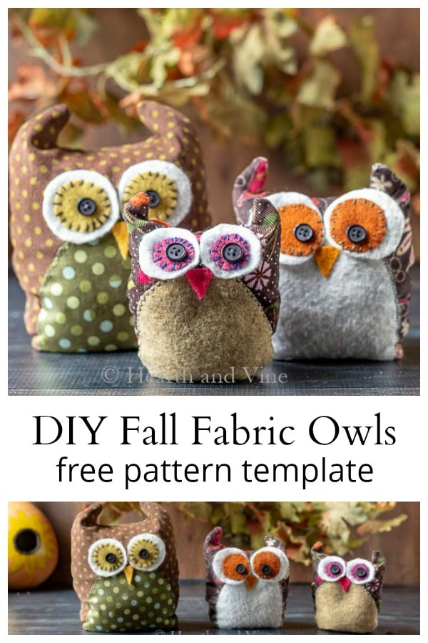 Fabric owls family collage