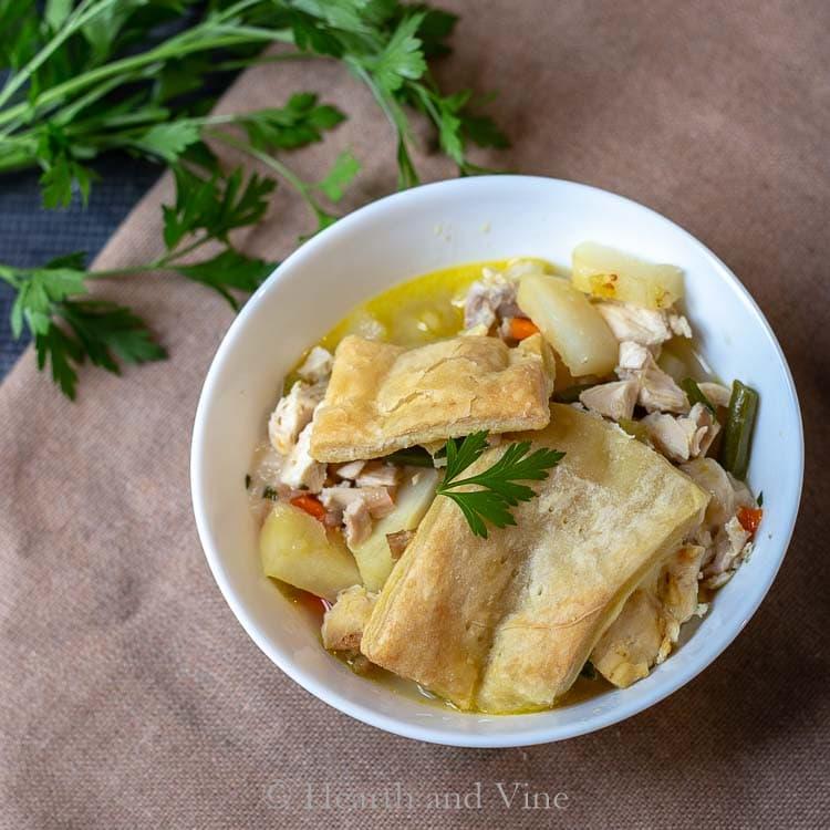 Bowl of chicken pot pie casserole