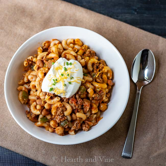 Chili mac casserole serving