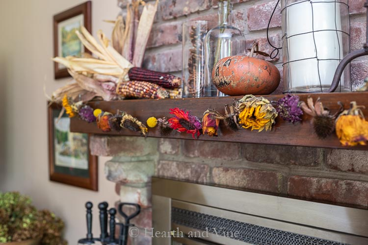 Dried flower garland on mantel