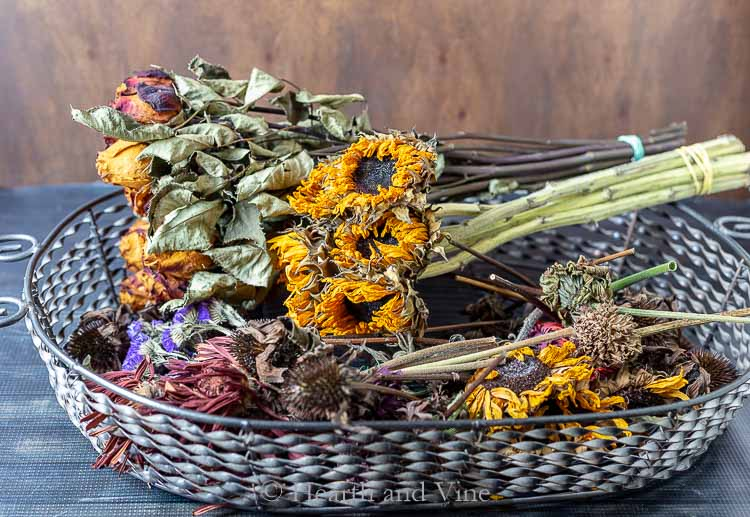 Basket of dried flowers
