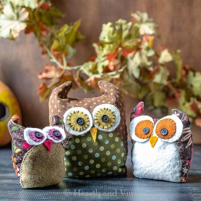 Three fabric owls