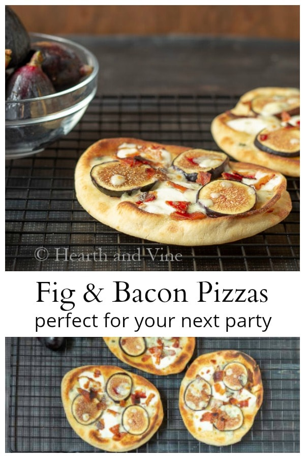 Pizza with figs, bacon and Gorgonzola cheese.