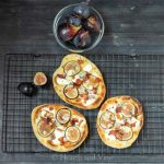 trio of fig bacon and gorgonzola pizza.