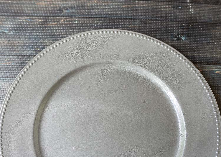 Texture on spray painted faux galvanized charger plates