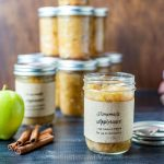 Homemade applesauce in jars.