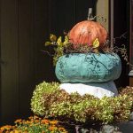 Decorated pumpkin topiary