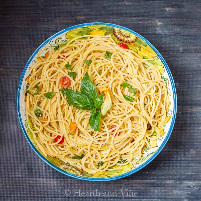 Squash blossom pasta bowl