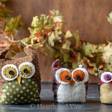 Fabric owls family