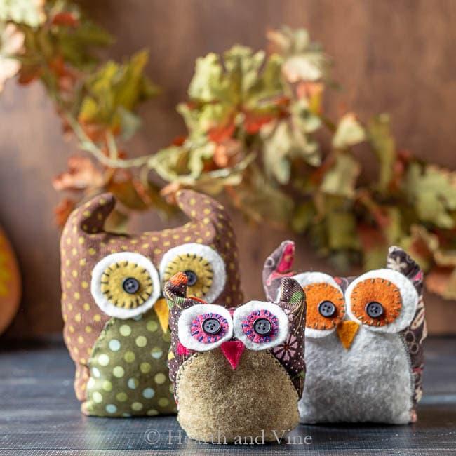 Trio of fabric owls