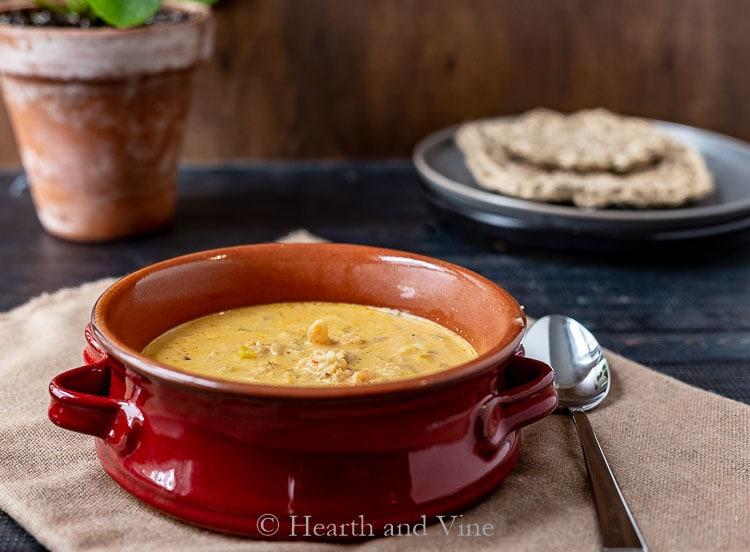 Bowl of shrimp and crab amaranth soup