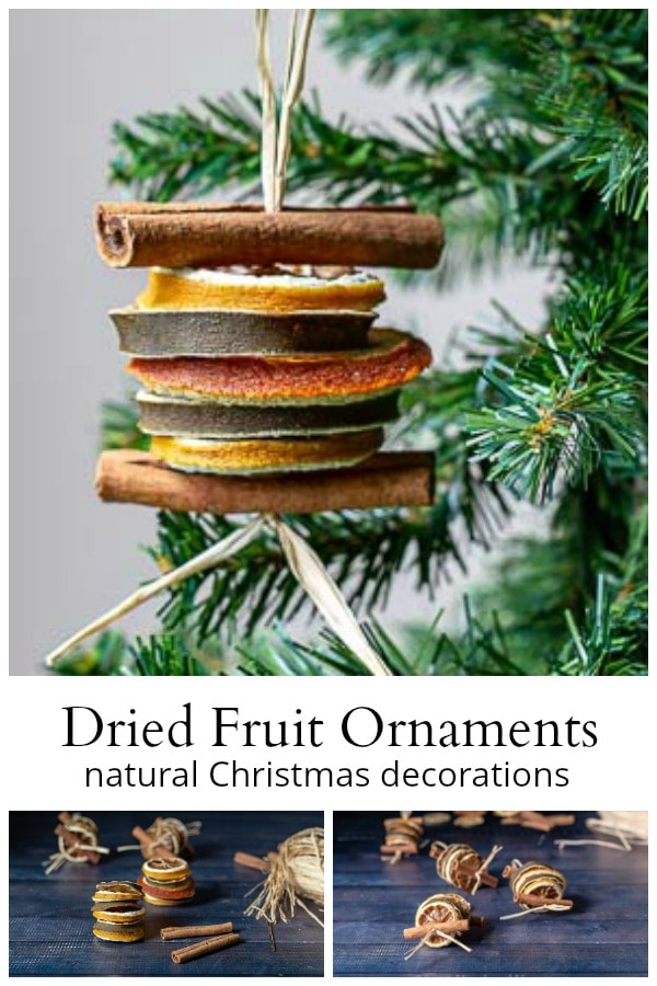 Dried fruit ornaments collage