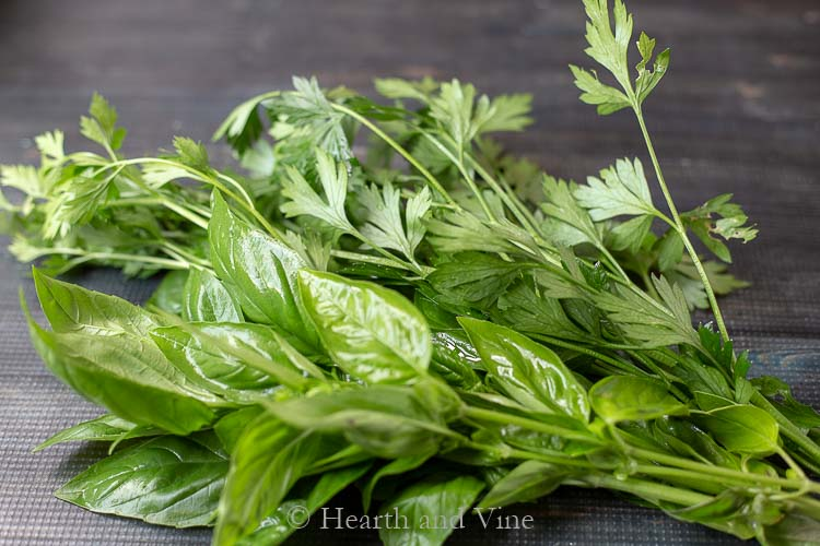 Fresh basil and parsley