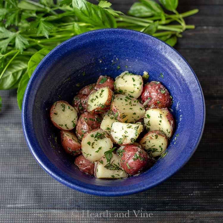 Herbed potatoes in bowl