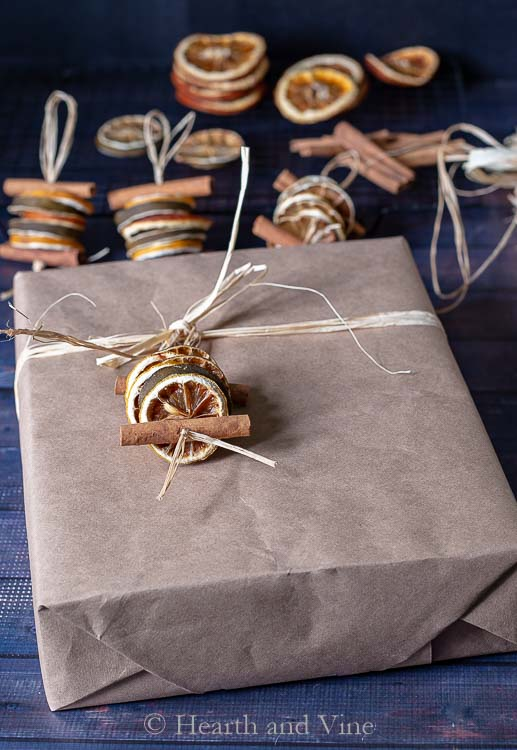 Dried fruit ornament on package