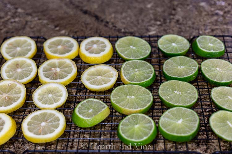 Sliced lemons and limes on baking rack