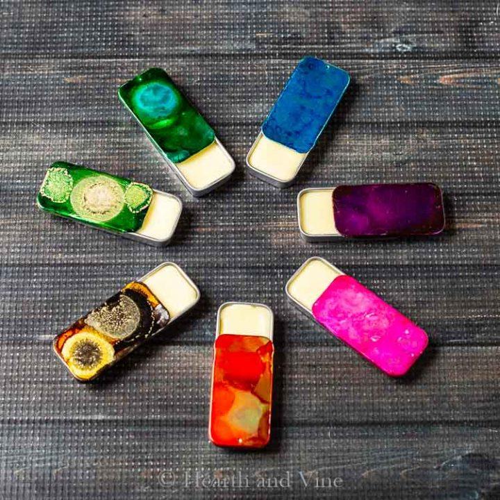 Circle of solid perfume tins