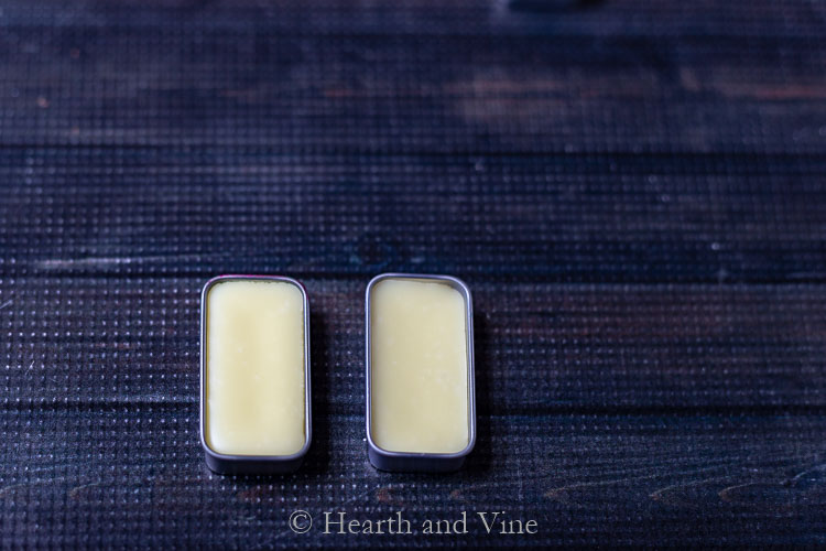 Solid perfume hardened in tins