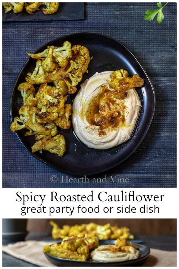 Spicy roasted cauliflower collage
