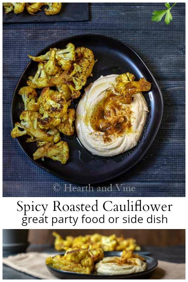 Spicy roasted cauliflower collage