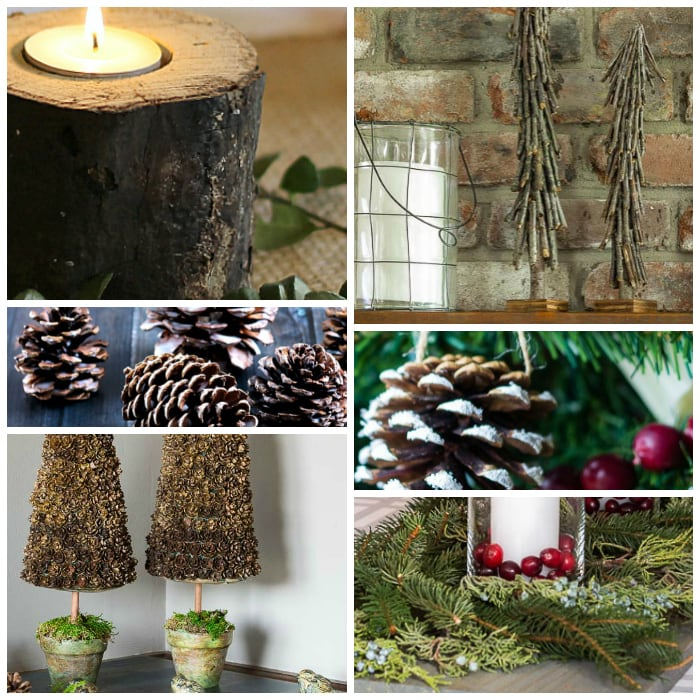 Collage of wood and pine cone decorations