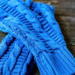 Blue cable mittens and headband