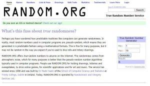 Random number generator winning number