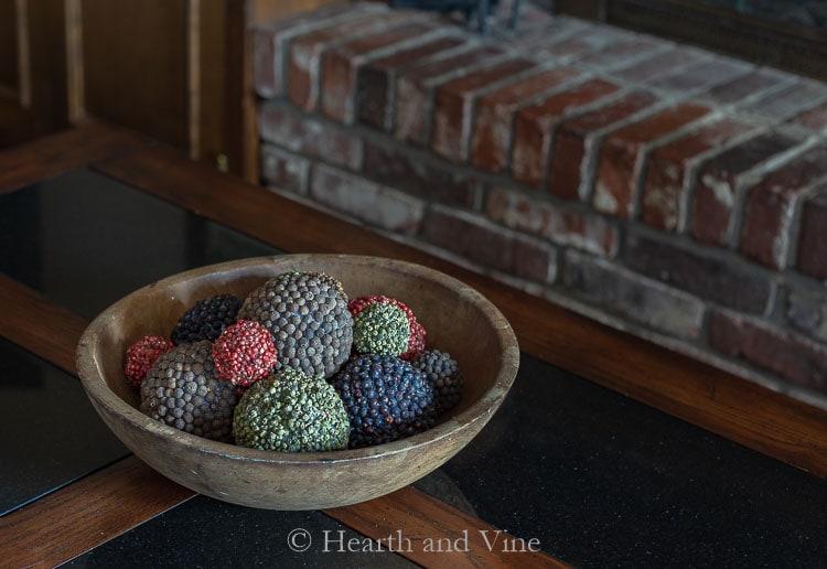Bowl of spice covered pomander balls