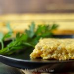 spicy green chile corn casserole serving closeup