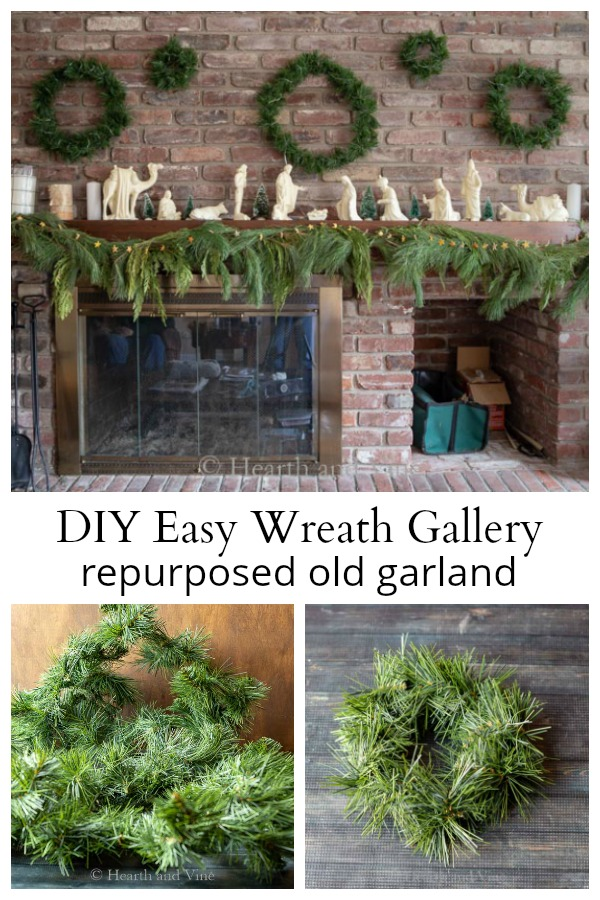 DIY Christmas wreath galley from old garland
