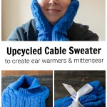 Face shot with blue ear warmers and mittens, a blue cable sweater and and mitten and ear warmer set tied with a ribbon.