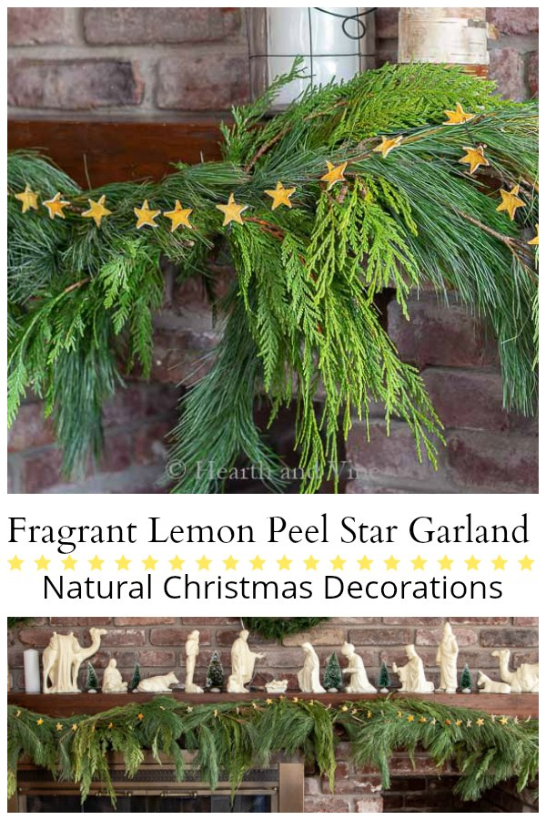 Natural dried lemon peel star garland