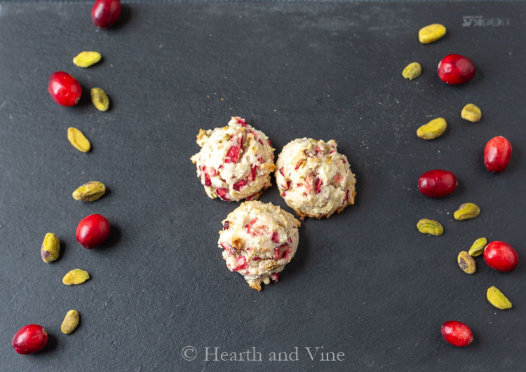Trio of fresh cranberry pistachio cookies