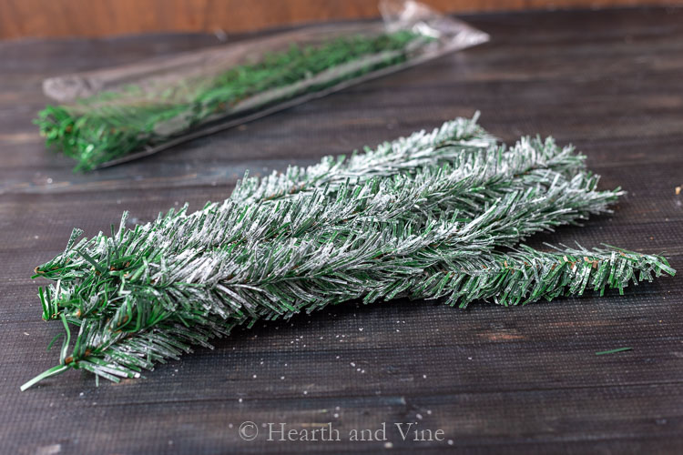 DIY frosted pine branches